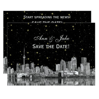 Toronto Etch Starry DIY BG Color Save the Date Blk Card