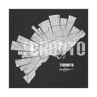 Toronto Map Wrapped Canvas Stretched Canvas Print
