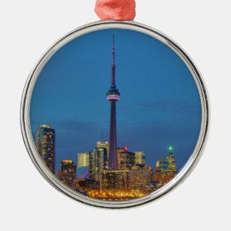 Toronto Ontario Canada Skyline At Night Metal Ornament