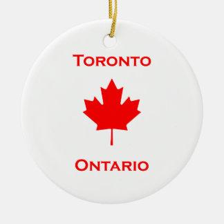 Toronto Ontario Maple Leaf Round Ceramic Decoration