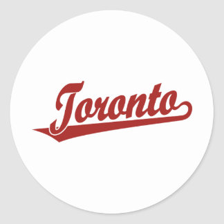 Toronto script logo in red classic round sticker