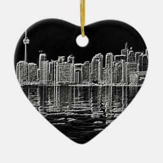 Toronto Skyline in Black and White Ceramic Ornament