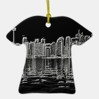 Toronto Skyline in Black and White Double-Sided T-Shirt Ceramic Christmas Ornament