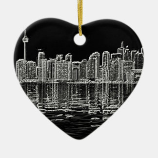 Toronto Skyline in Black and White Double-Sided Heart Ceramic Christmas Ornament