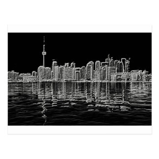Toronto Skyline in Black and White Postcard