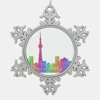 Toronto skyline snowflake pewter christmas ornament