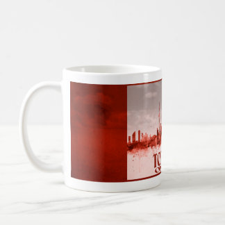 Toronto skyline with red grunge basic white mug