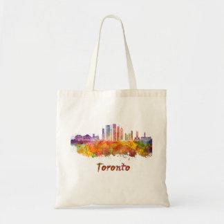 Toronto V2 skyline in watercolor Tote Bag