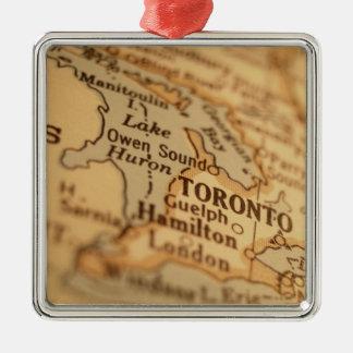 TORONTO Vintage Map Metal Ornament