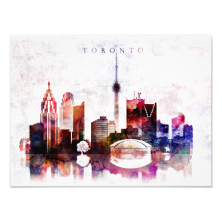 Toronto watercolor skyline photo print