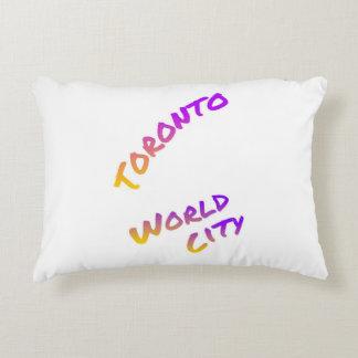 Toronto world city, colorful text art decorative cushion