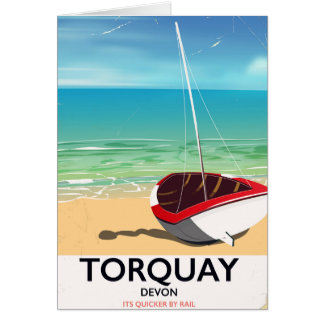Torquay Devon vintage seaside travel poster Card