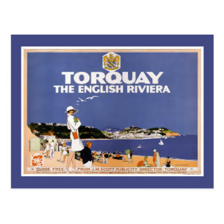 Torquay Vintage Travel Poster Restored Postcard