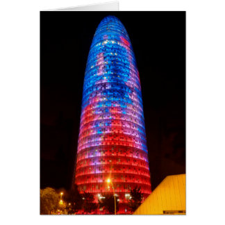 Torre Agbar at night, Barcelona Greeting Cards