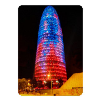 Torre Agbar at night, Barcelona Cards