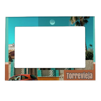 Torrevieja in Orange and Turqoise Magnetic Picture Frame