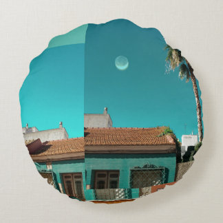Torrevieja in Orange and Turqoise Round Cushion