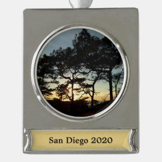 Torrey Pine Sunset II California Landscape Silver Plated Banner Ornament