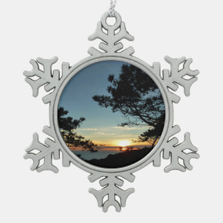 Torrey Pine Sunset III California Landscape Snowflake Pewter Christmas Ornament