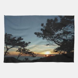 Torrey Pine Sunset III California Landscape Tea Towel