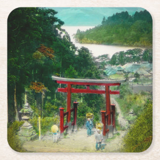 Torri Above Lake Ashi 芦ノ湖 Japan Vintage Square Paper Coaster