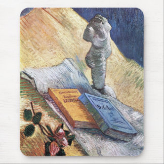 torso, a rose and two novels by Van Gogh Mouse Pad