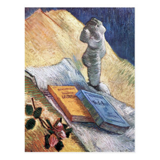 torso, a rose and two novels by Van Gogh Post Card