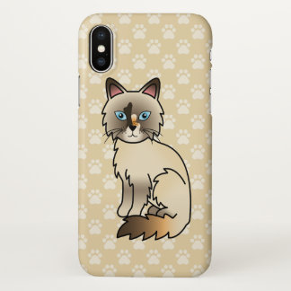 Tortie Point Birman / Ragdoll Cat Cartoon Drawing iPhone X Case