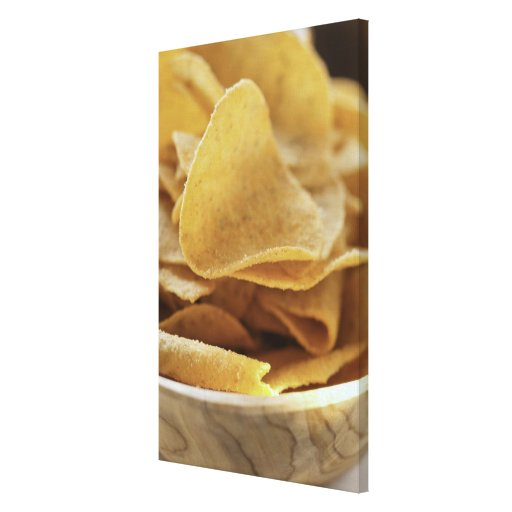 Tortilla chips in wooden bowl gallery wrap canvas