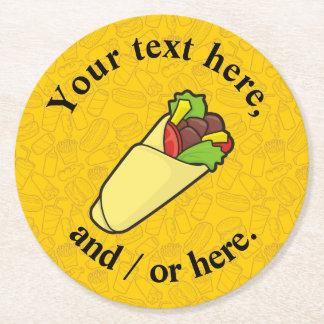 Tortilla Sandwich Wrap Round Paper Coaster