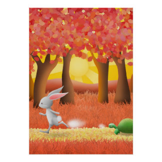 Tortoise and hare 1 - poster print