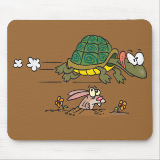 tortoise and the hare funny fable cartoon mouse pad