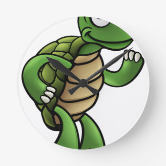 Tortoise Cartoon Character Round Clock