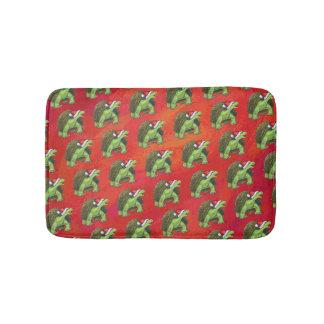 Tortoise Christmas On Red Bath Mats