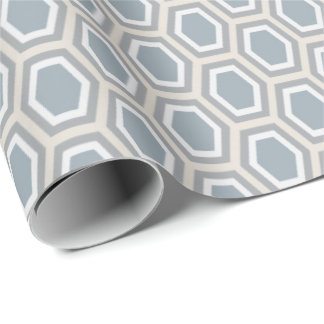 Tortoise Hexagon Pattern Blue Grey Tan Wrapping Paper