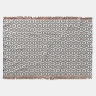 Tortoise Hexagon Pattern Brown Grey Throw Blanket