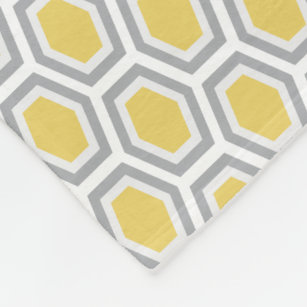 5131e9149f Tortoise Hexagon Pattern Yellow Grey Fleece Blanket