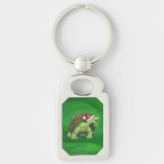 Tortoise in Santa Hat On Green Silver-Colored Rectangle Key Ring
