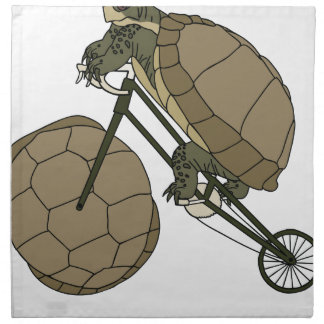 Tortoise Riding Bike W/ Tortoise Shell Wheels Napkin