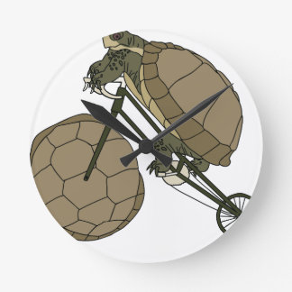 Tortoise Riding Bike W/ Tortoise Shell Wheels Round Clock