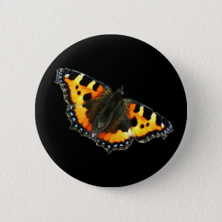 Tortoise shell butterfly 6 cm round badge