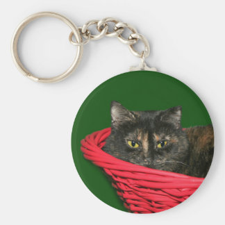 Tortoiseshell cat Christmas Basic Round Button Key Ring