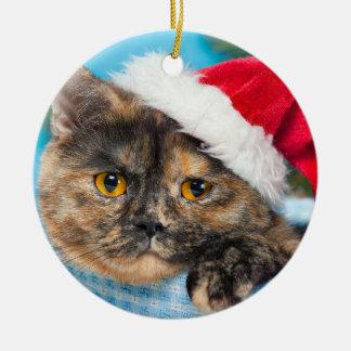 Tortoiseshell Cat Purr-fect Holiday Season Ceramic Ornament