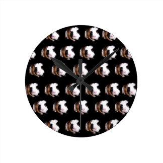 Tortoiseshell Guinea Pigs Medium Wall Clock. Round Clock