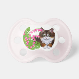 Tortoiseshell Kitten in Garden Flowers Pacifier