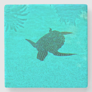 Tortuga Turtle Mosaic on Sanibel Island Florida Stone Coaster