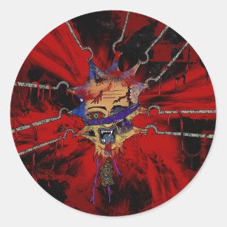 tortured head round sticker