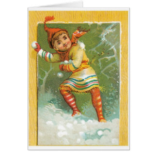 Tossing Snowballs Greeting Card