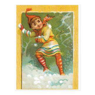 Tossing Snowballs Postcard