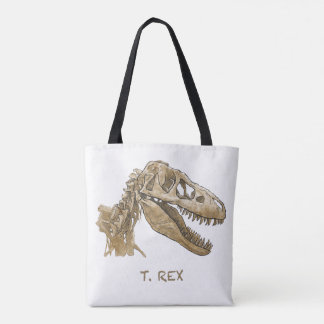Tot bag design of the dinosaur T. Rex.
